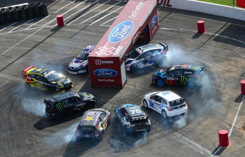 Photo wallpaper Ford, Mini, Subaru, Volkswagen, Race, Monster, Driver, Ken Block, Rally, Fiesta, Polo, X Games, Impreza …