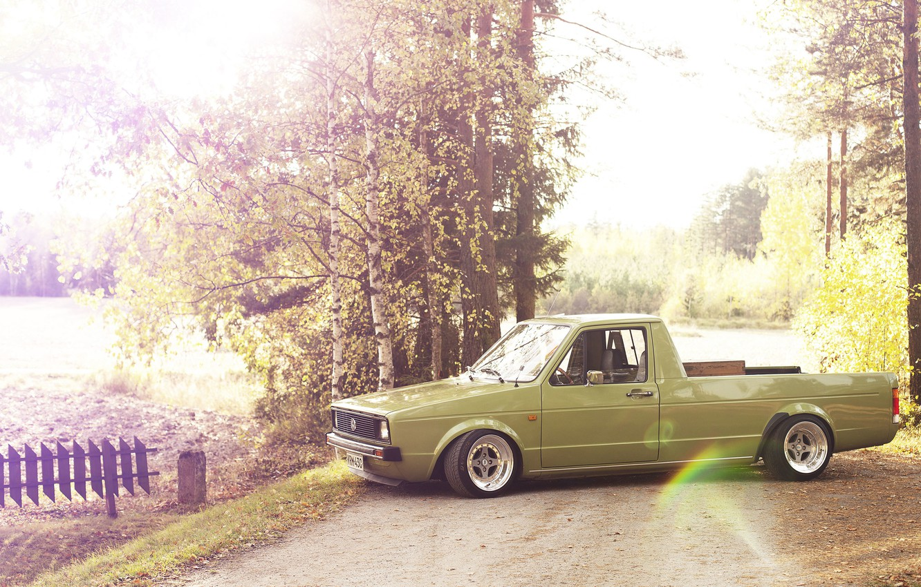 Photo wallpaper road, the sun, lights, Volkswagen, wheel, the countryside, side, Caddy