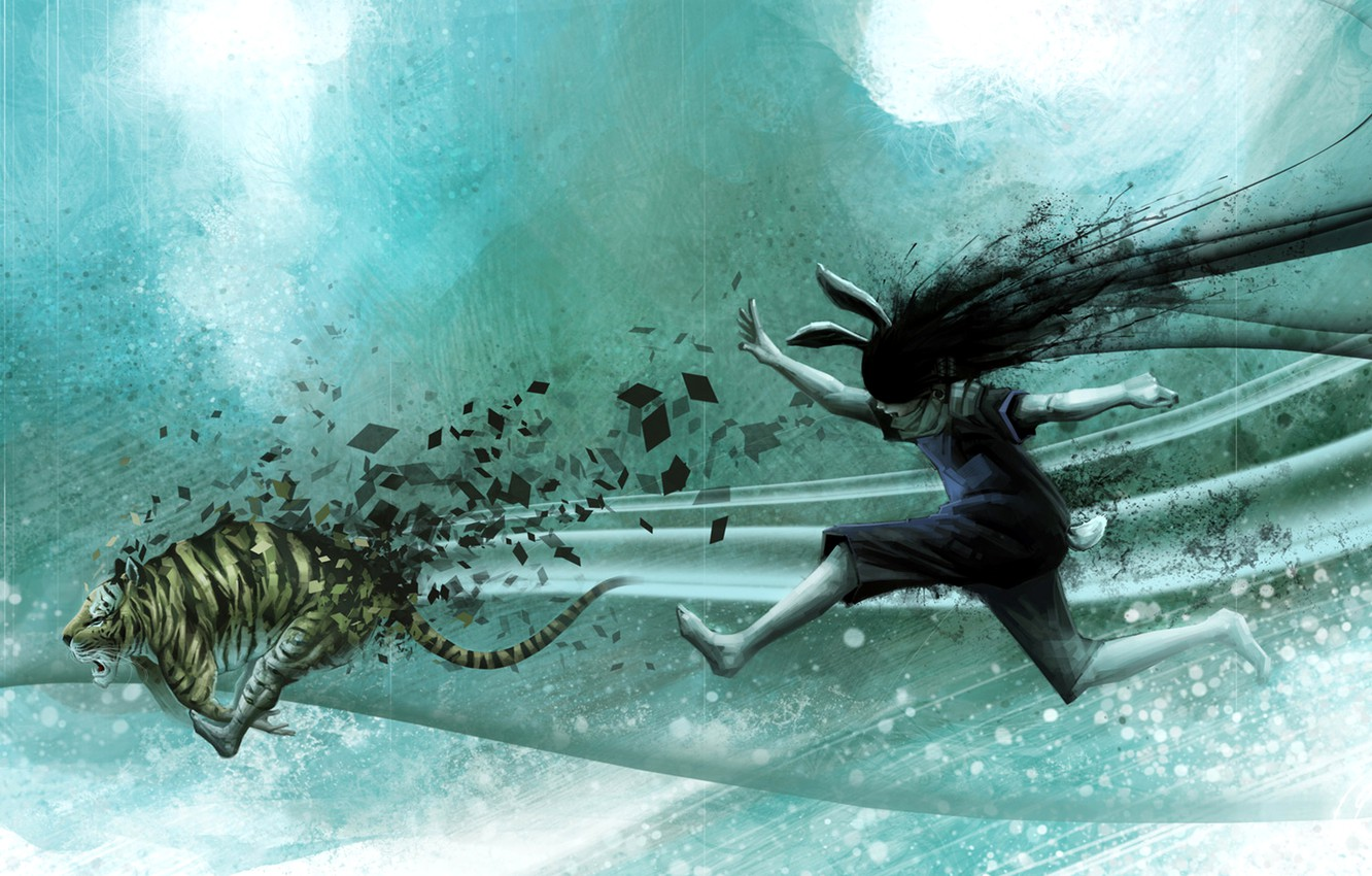 Photo wallpaper girl, abstraction, tiger, figure, hare, running, ears