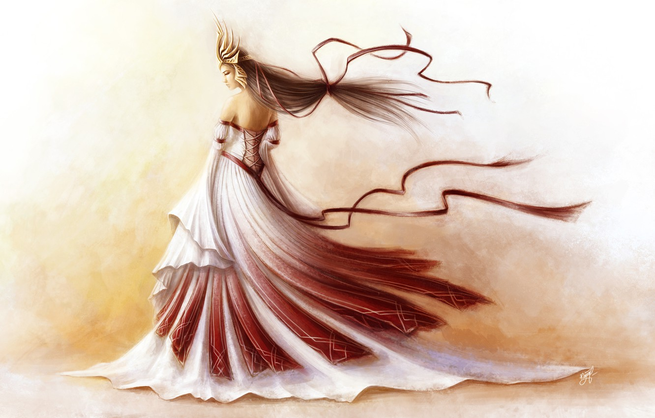 Photo wallpaper girl, tape, background, the wind, crown, dress, art