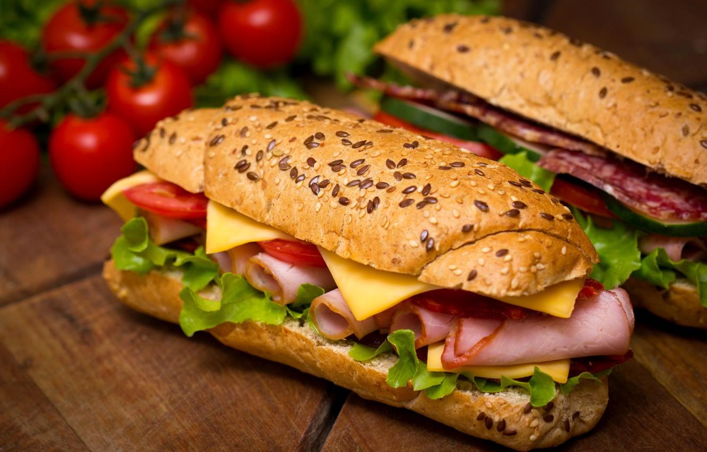 Photo wallpaper cheese, tomatoes, salad, buns, cherry, sandwiches, salmon, ham, sandwiches, baton, salami