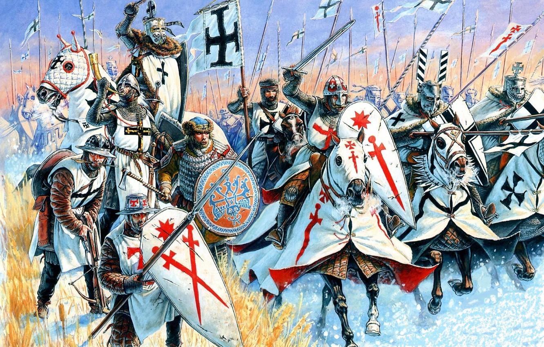 Photo wallpaper red, weapons, attack, black, figure, cross, art, battle axe, shields, mercenary, spears, hats, crossbow, master, …
