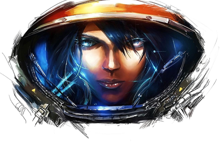 Photo wallpaper girl, game, art, white background, starcraft, starcraft 2, starcraft II