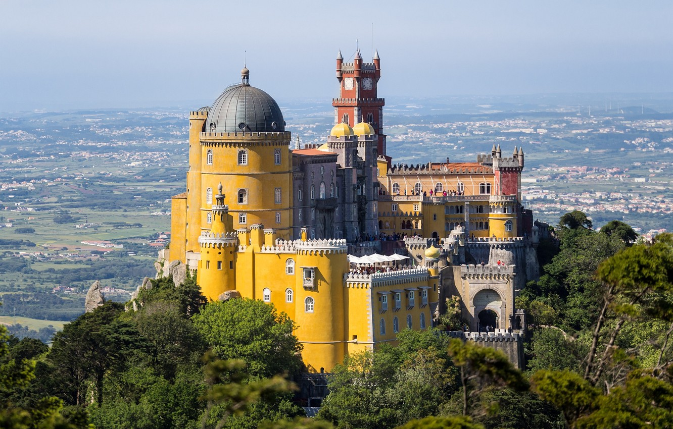 Photo wallpaper the sky, castle, tower, mountain, valley, Portugal, the dome, the Pena Palace