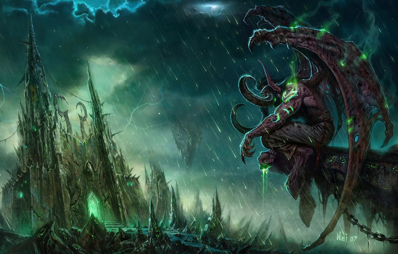 Photo wallpaper castle, rain, monster, World of Warcraft, Illidan, WOW