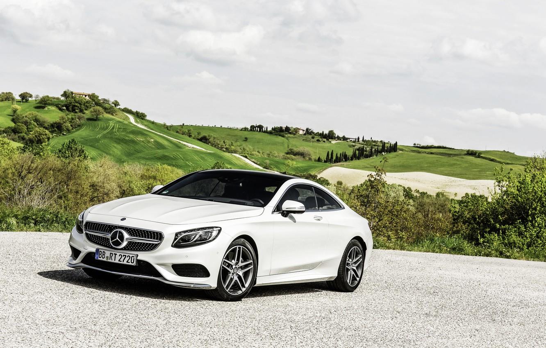 Photo wallpaper Mercedes-Benz, The sky, Auto, White, Machine, Mercedes, Day, Coupe, S-Class