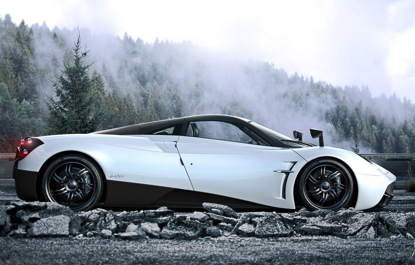 Photo wallpaper Pagani, White, Side, Road, Supercar, To huayr, Fog, Forest
