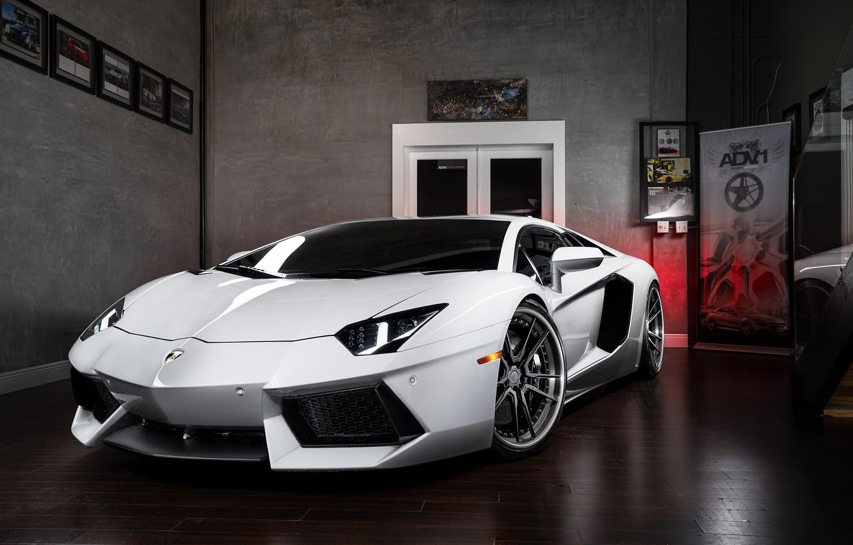 Photo wallpaper Lamborghini, Power, Front, White, LP700-4, Aventador, Wheels, ADV.1, Ligth
