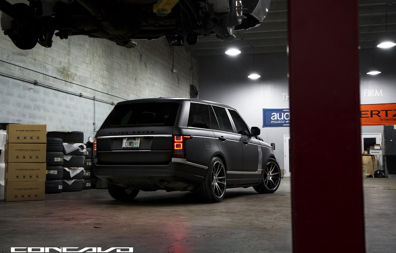 Photo wallpaper tuning, Matt, Range Rover, black, view, Vogue, concave