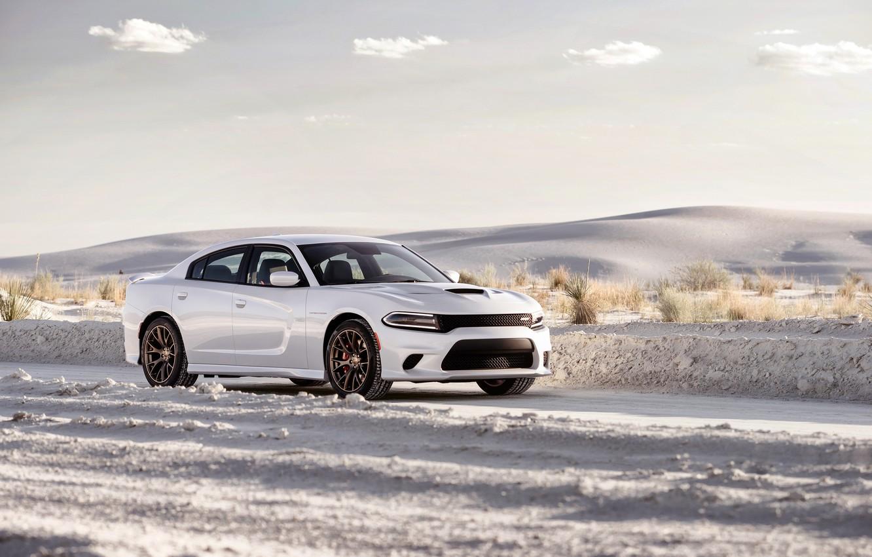 Photo wallpaper white, photo, Dodge, car, metallic, Charger, 2015, SRT Hellcat