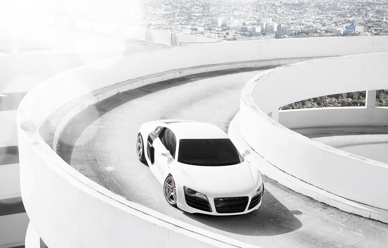 Photo wallpaper white, the city, Audi, Audi, Parking, white, Blik
