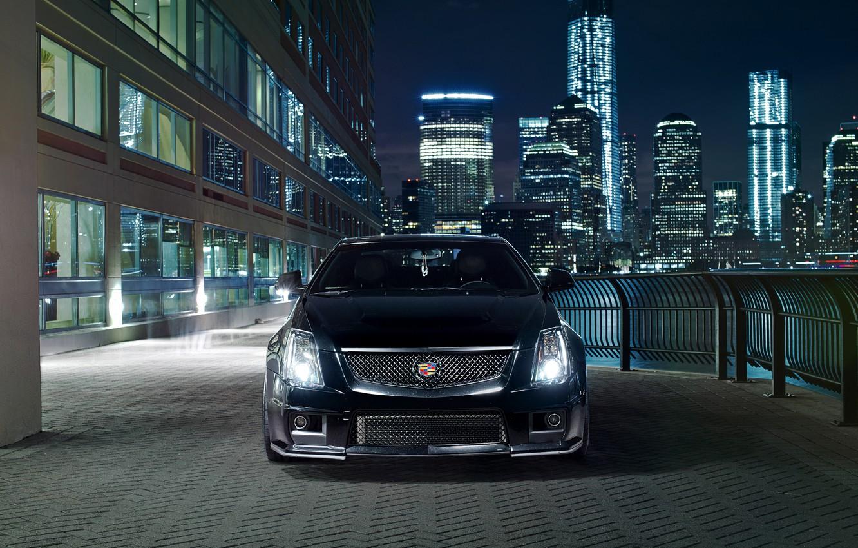 Photo wallpaper night, the city, lights, black, Cadillac, before, black, CTS-V, Cadillac
