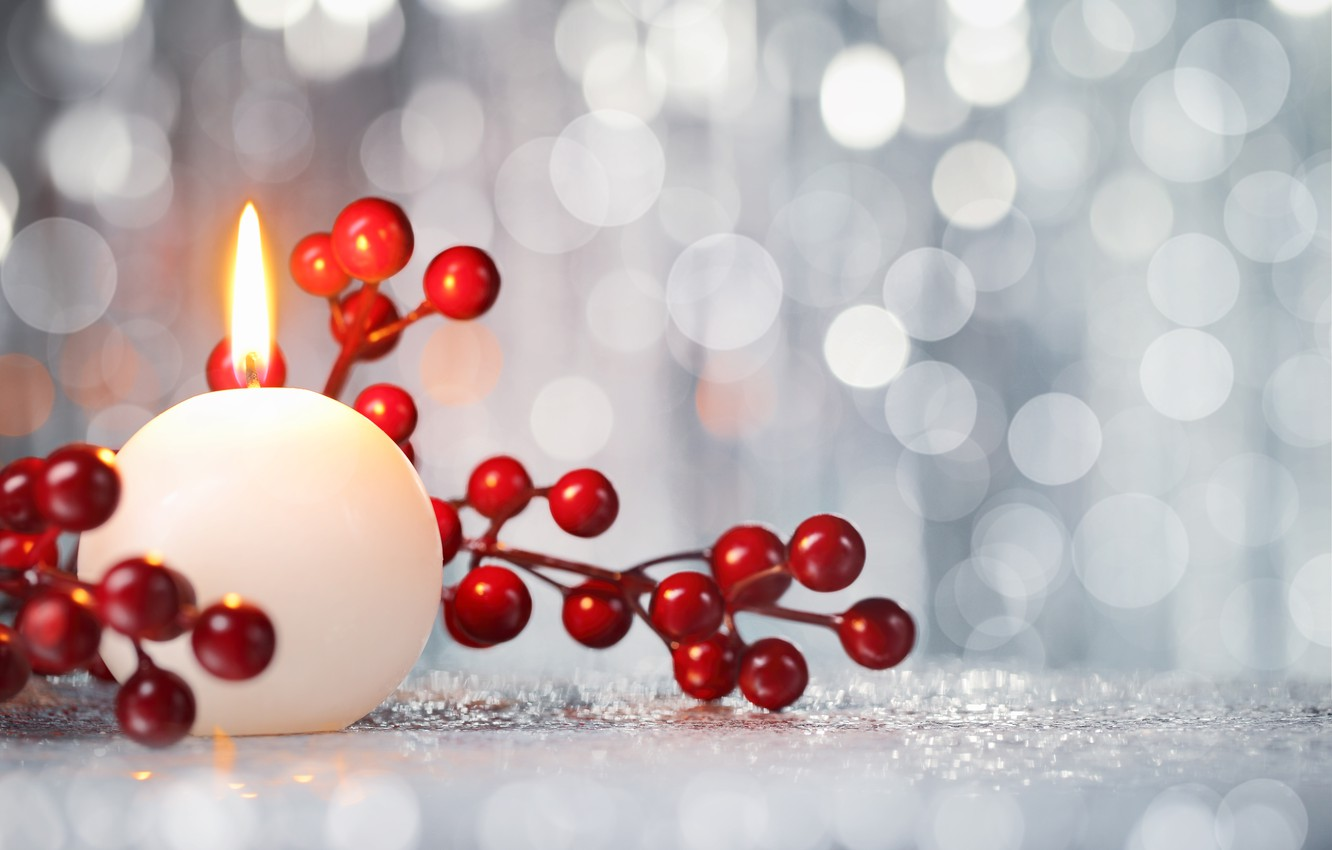 Photo wallpaper berries, candle, New Year, Christmas, Christmas, New Year, decoration
