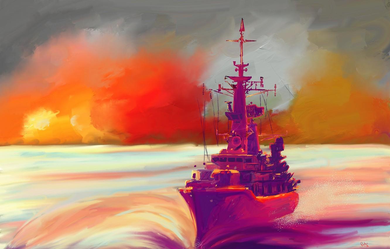 Photo wallpaper sea, sunset, ship, art