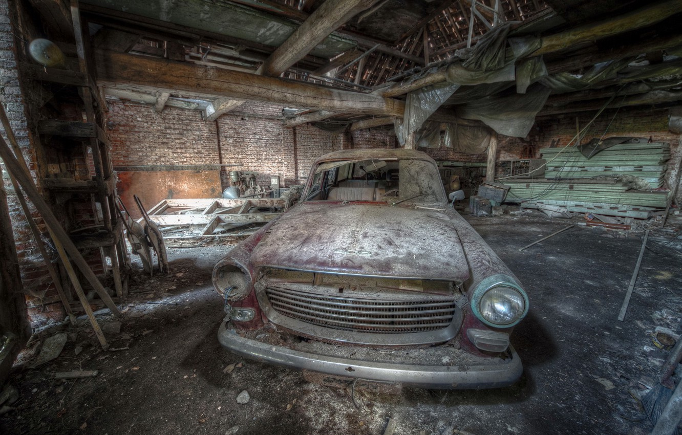 Photo wallpaper lost, 404, peugeot, lost place, abandone