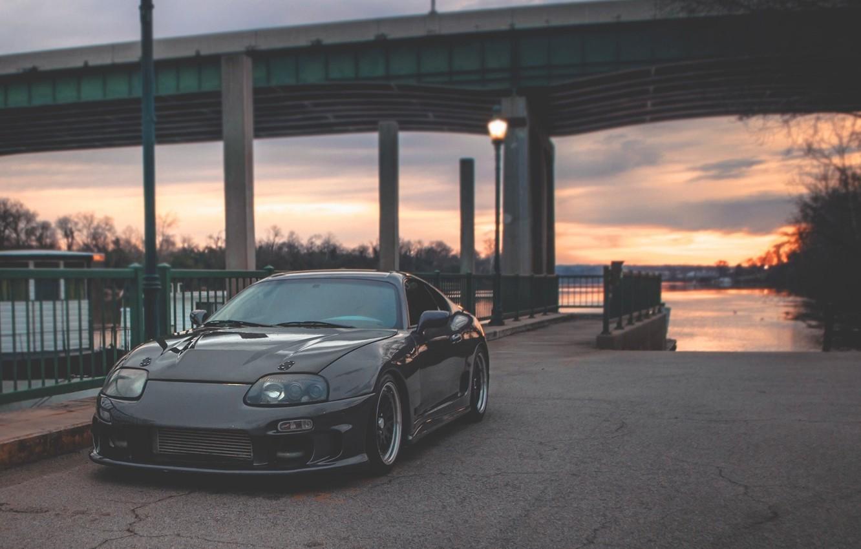 Photo wallpaper Sunset, Auto, Toyota, Supra, JDM