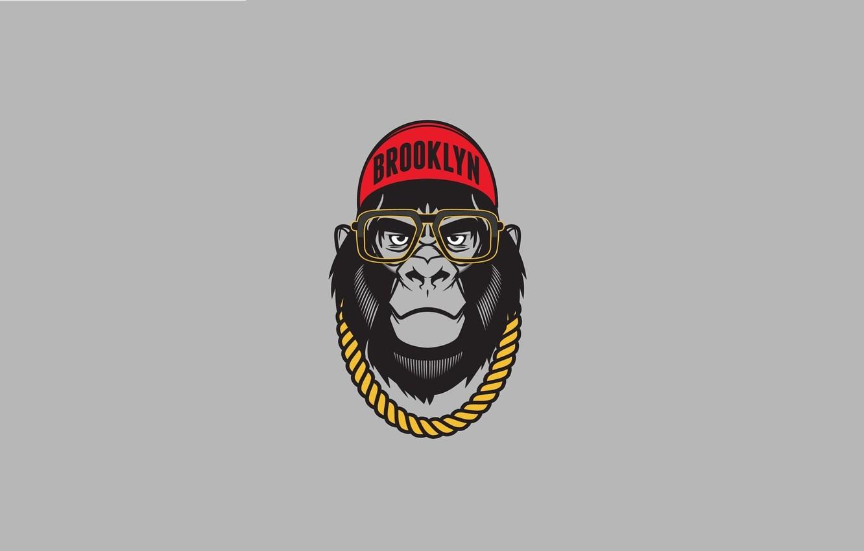 Photo wallpaper Minimalism, Humor, Glasses, Chain, Art, Art, Brooklyn, Cap, Minimalism, Chain, Sunglasses, Gorilla, Humor, Gorilla, Caps, …