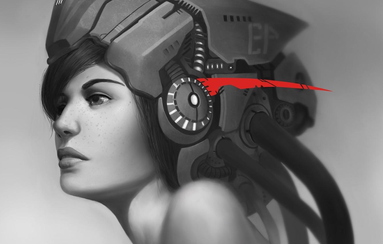 Photo wallpaper girl, future, red, wire, headphones, art, freckles, helmet, black and white, monochrome