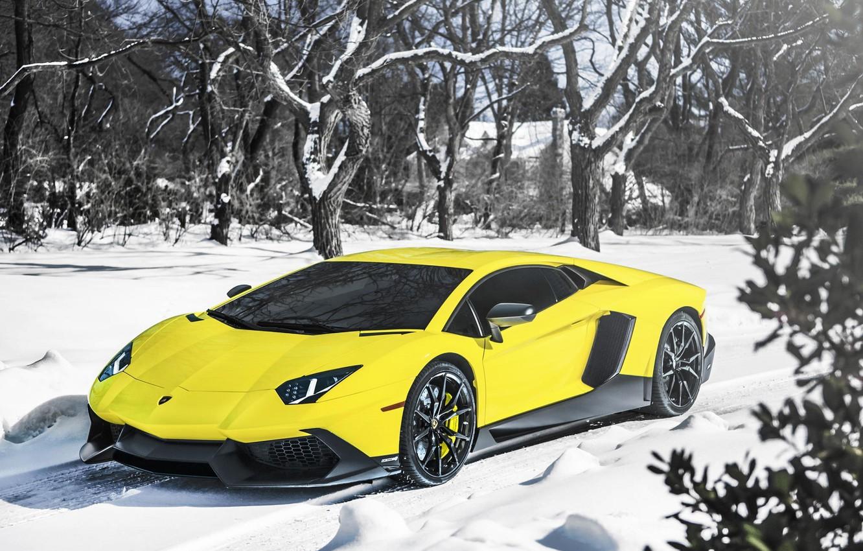 Photo wallpaper Lamborghini, Snow, Yellow, Aventador, Supercar, LP720-4, 50 Anniversario Edition