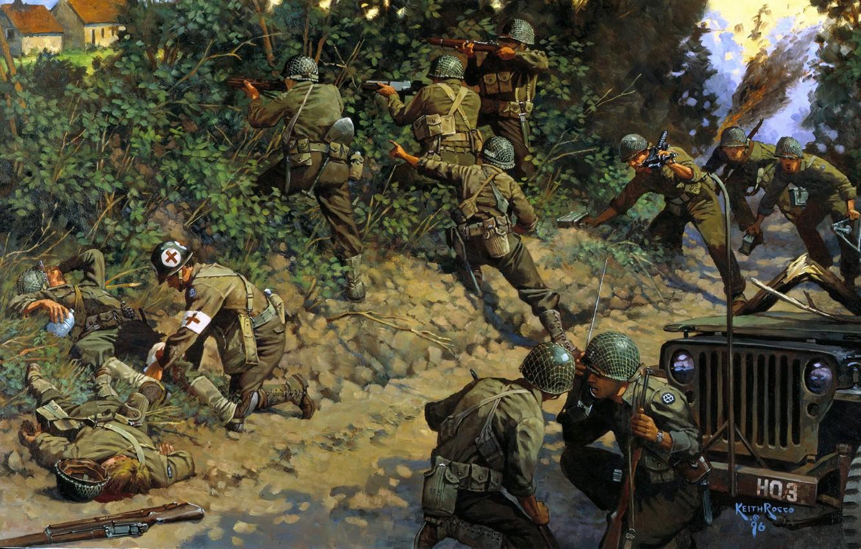Wallpaper War, Soldiers, Jeep, Art, WW2