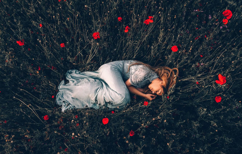 Photo wallpaper girl, Maki, sleep, Bird Man