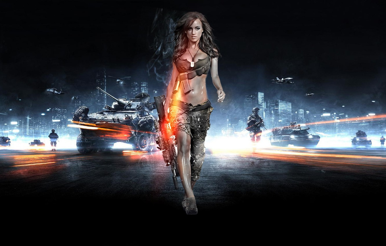 Photo wallpaper girl, weapons, army, soldiers, battlefiled