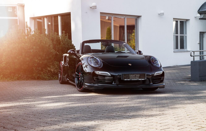Photo wallpaper 911, Porsche, convertible, Porsche, Black, Turbo, Cabriolet, turbo, TechArt