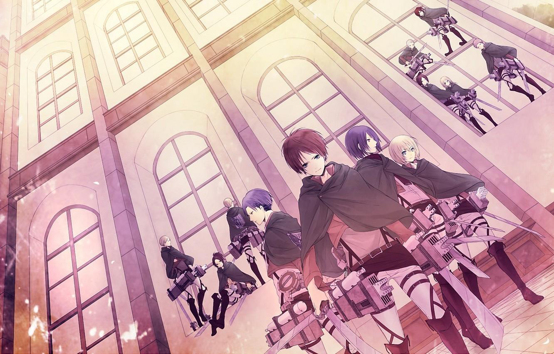 Photo wallpaper house, girls, Windows, anime, art, guys, shingeki no kyojin, rivaille, mikasa ackerman, eren jaeger, the …