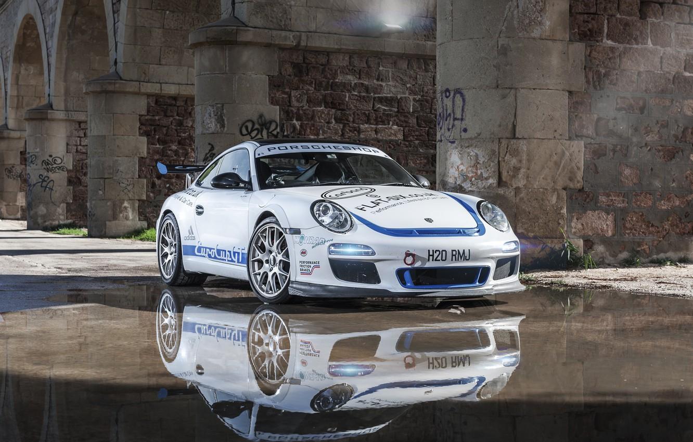 Photo wallpaper white, reflection, 997, Porsche, white, sports car, Porsche, Carrera S, EurocupGT, 3.8