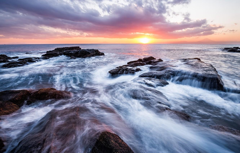 Photo wallpaper sea, the sky, the sun, clouds, sunset, stones, shore, the evening, Japan, horizon, surf, Kanagawa, ...