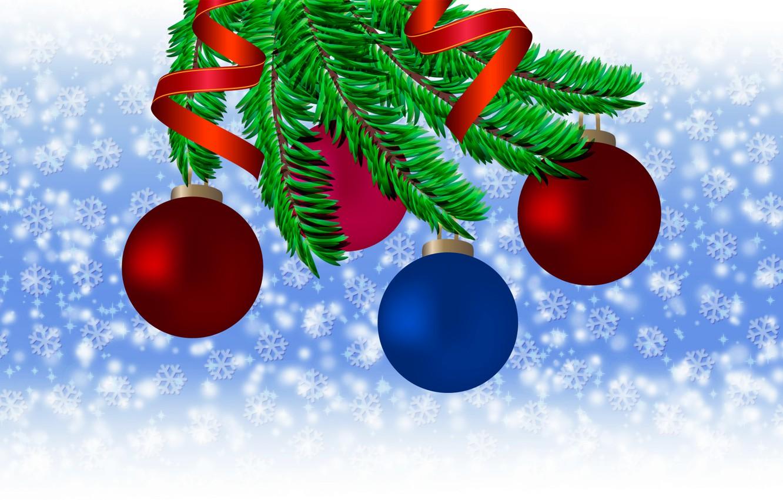 Photo wallpaper balls, snow, snowflakes, branches, holiday, new year, new year, Tree, balls