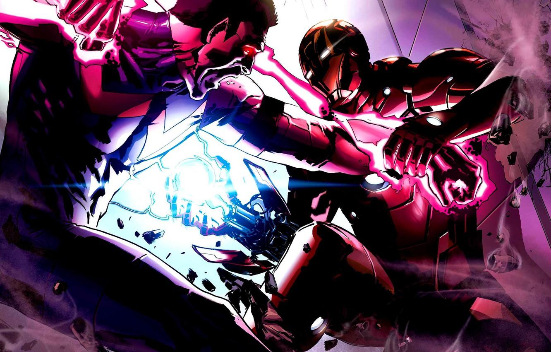 Photo wallpaper energy, battle, iron man, marvel, iron man, miracle man, wonder man