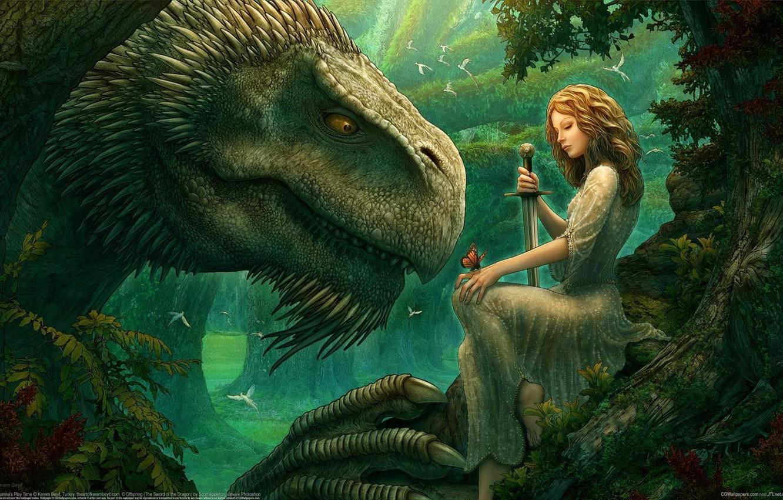 Photo wallpaper girl, trees, birds, magic, magic, butterfly, glade, dragon, elf, tale, sword, fantasy, Kerem Couplets, girl, …