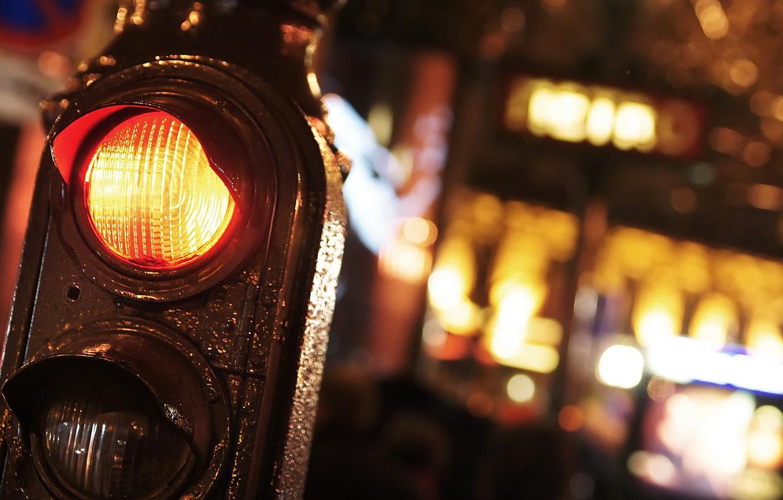 Photo wallpaper macro, night, the city, traffic light