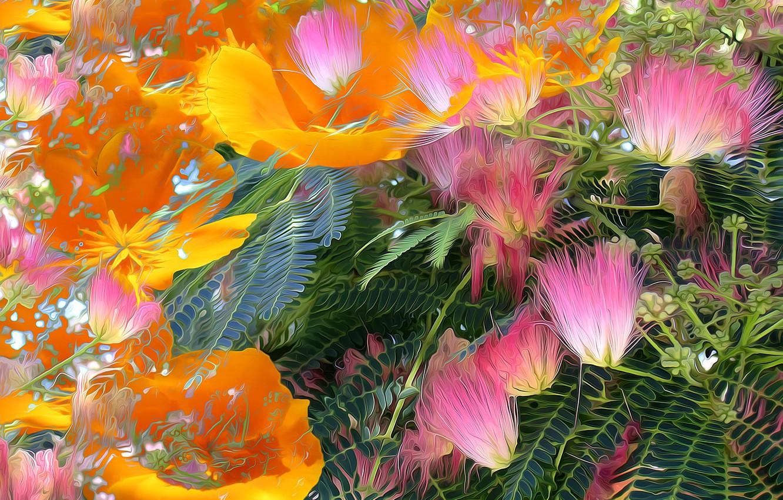 Photo wallpaper leaves, line, flowers, rendering, paint, petals
