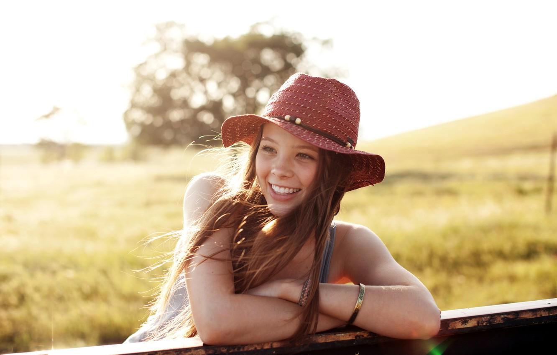Photo wallpaper summer, girl, smile, mood, hat