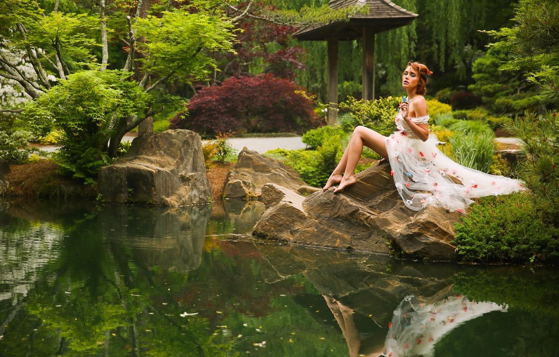 Photo wallpaper nature, pose, pond, Park, reflection, mood, model, Elizabeth Hassell