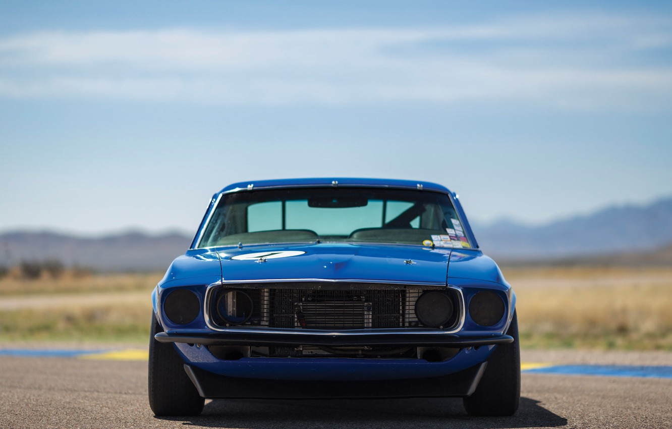 Photo wallpaper blue, speed, Mustang, Ford, Muscle, 1969, Car, Race, car, Classic, classic, legend, Blue, Musclecar, 302, …