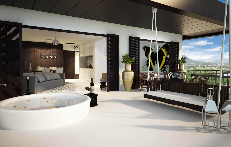 Photo wallpaper landscape, nature, design, sofa, picture, chairs, balcony, apartment, design, vases, interior, swing, mountains., cmnet, vanaya, …