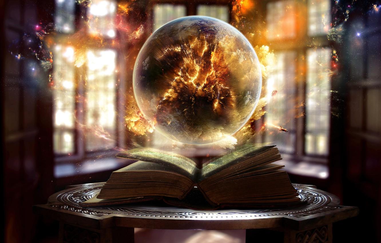 Photo wallpaper light, fire, magic, Windows, ball, Book, sparks, sphere
