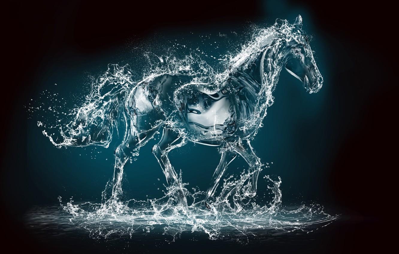 Photo wallpaper water, squirt, rendering, animal, horse