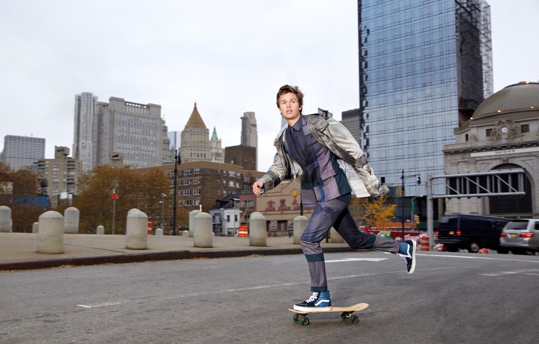 Photo wallpaper road, the city, street, sneakers, home, jacket, costume, actor, skate, photoshoot, skateboard, Ansel Elgort, DuJour, …