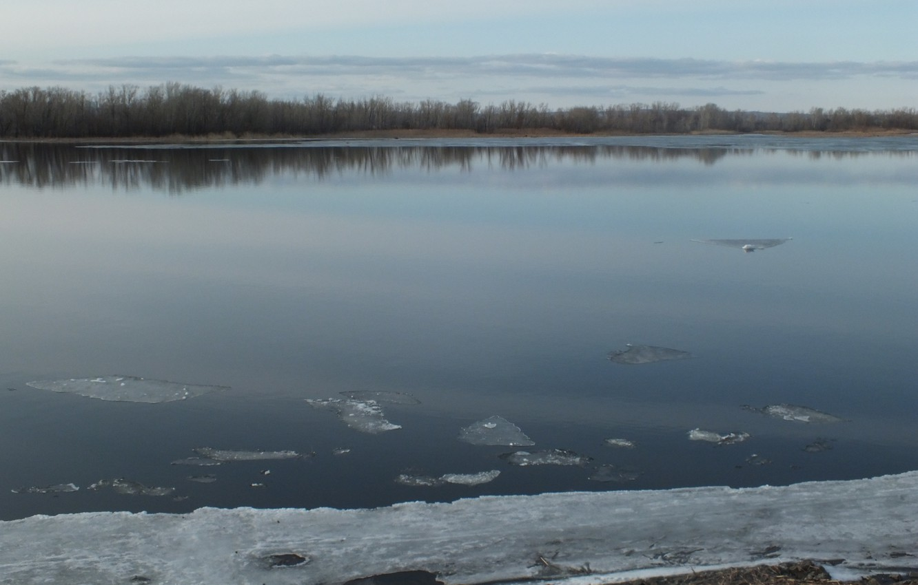Photo wallpaper ice, water, river, island, spring