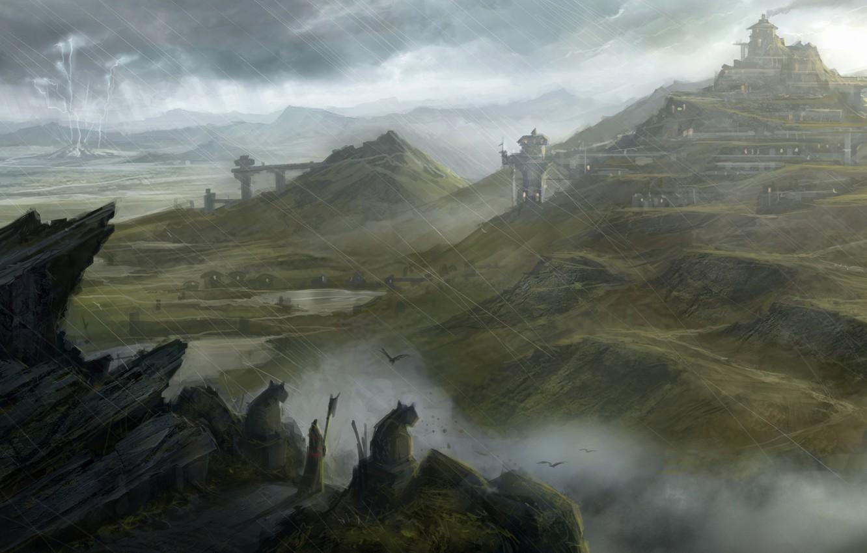 Photo wallpaper the city, river, castle, rain, rocks, hills, lightning, staff, statues, dragon age, traveler, mabari