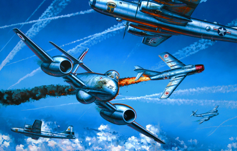 Photo wallpaper war, art, painting, aviation, B-29, Gloster Meteor, MIG-15