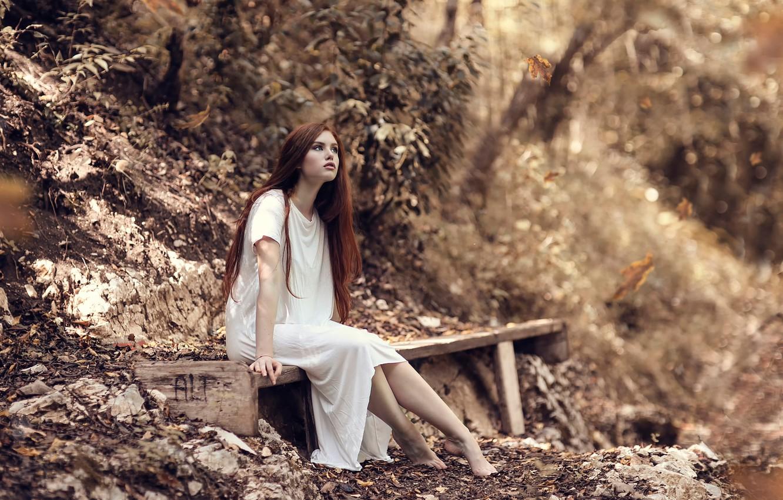 Photo wallpaper autumn, girl, falling leaves, bench, Wonderland, Alessandro Di Cicco
