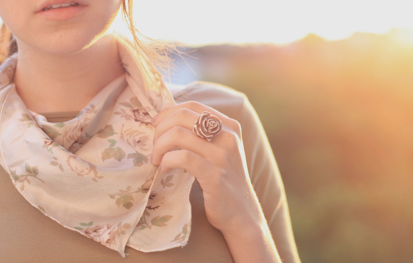 Photo wallpaper girl, the sun, flowers, background, mood, clothing, rose, color, hand, teeth, mouth, scarf, brunette, ring, …