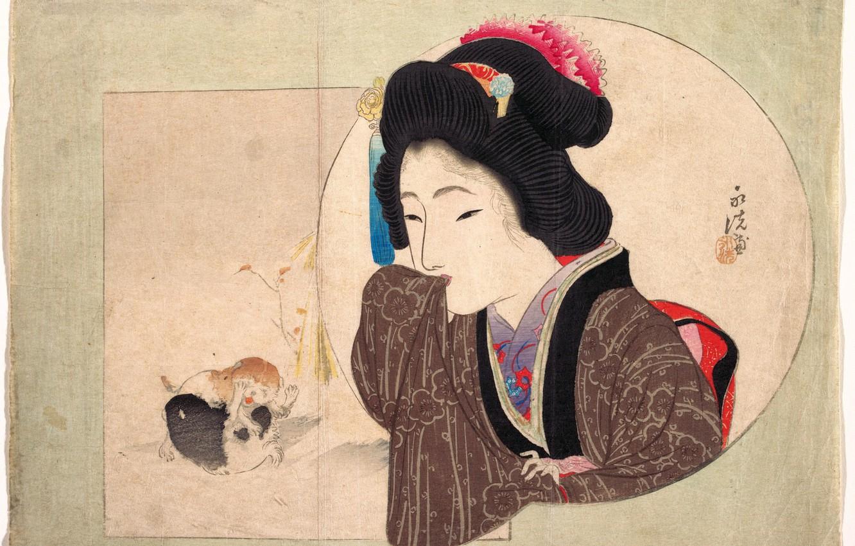 Photo wallpaper girl, Japan, kittens, kimono, Keisai Iron