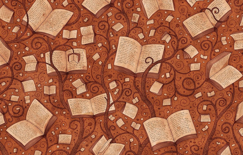 Photo wallpaper style, background, books, vladstudio