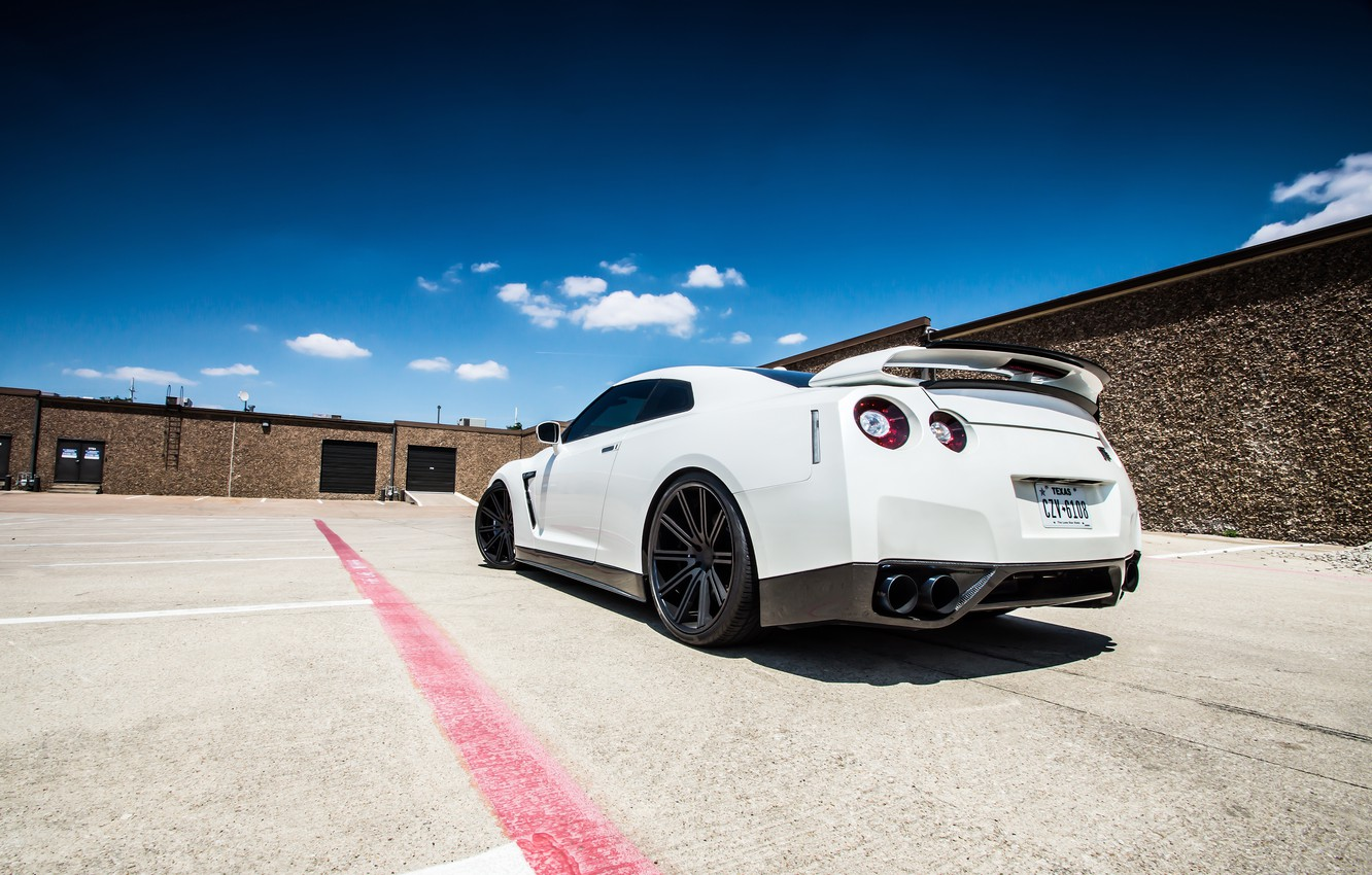 Photo wallpaper white, the sky, clouds, nissan, white, Nissan, gt-r, back, r35